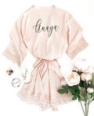 Blush Personalized Bridal Party Robe
