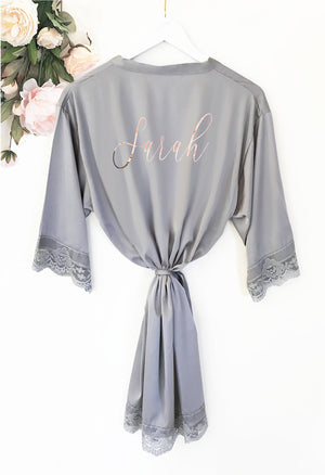 Grey Personalized Bridal Party Robe