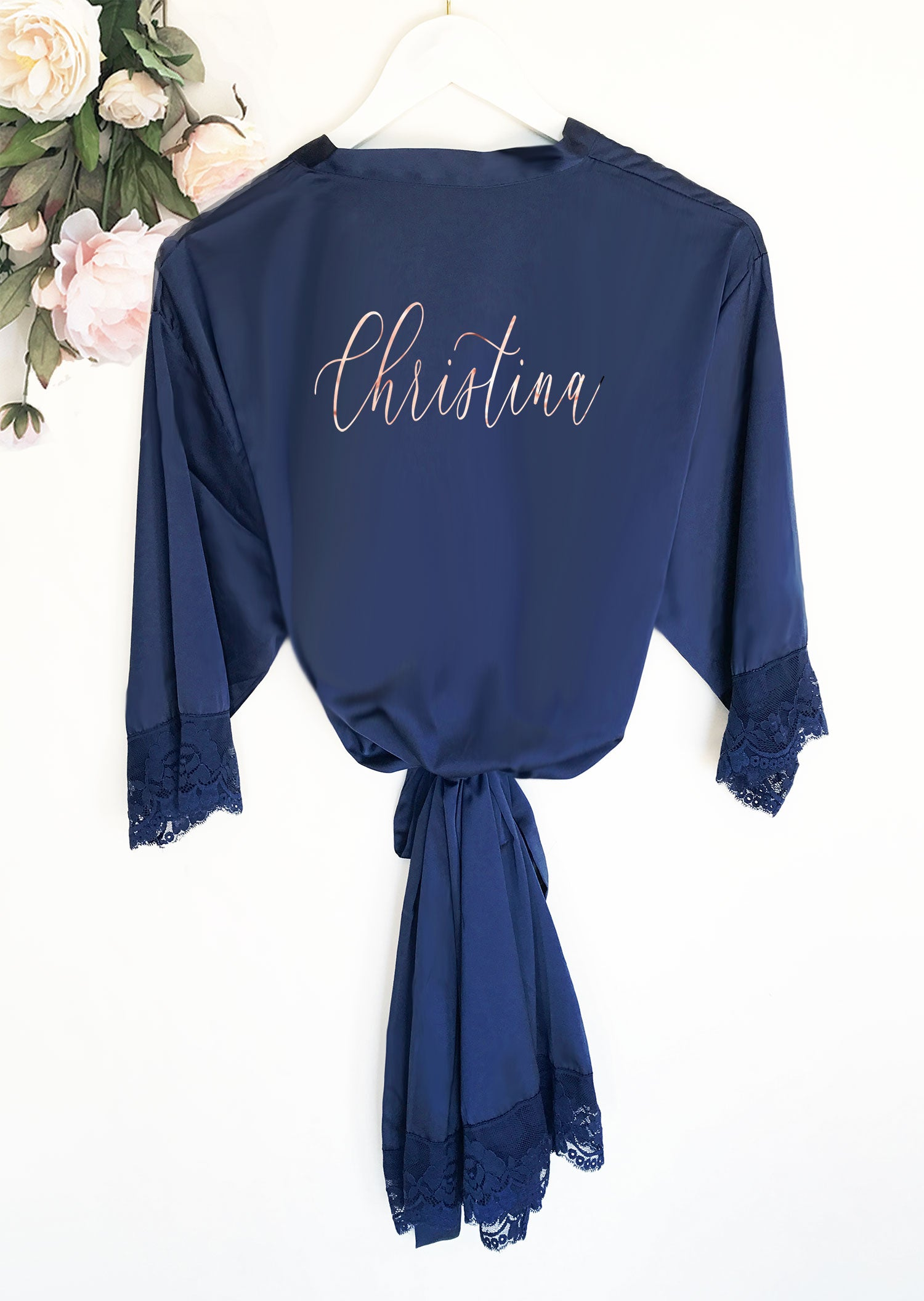 Personalized Bridal Party Satin Lace Robe Celebration Bliss