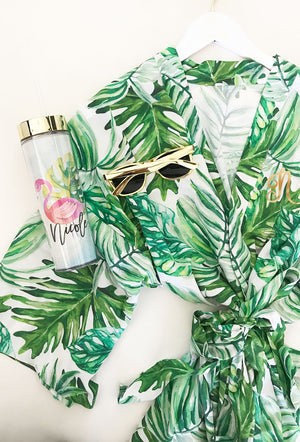 Monogram Palm Leaf Cotton Robes with Tumbler and Glasses
