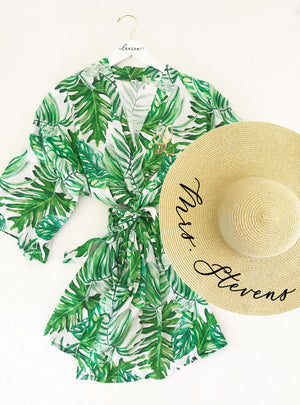Monogram Palm Leaf Cotton Robes with hat