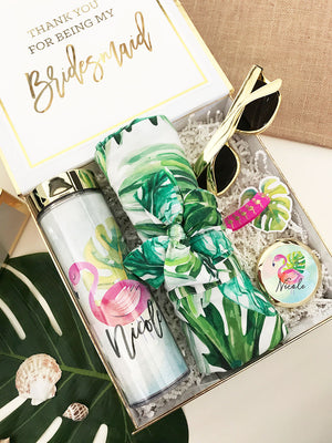 Palm Leaf Cotton Robes Bridesmaid Gift Box