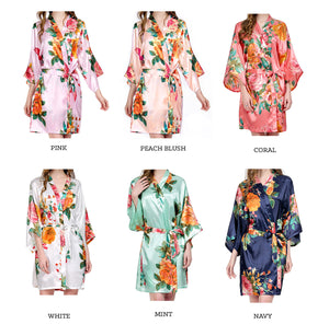 Monogram Watercolor Floral Bridal Party Robes Color Chart