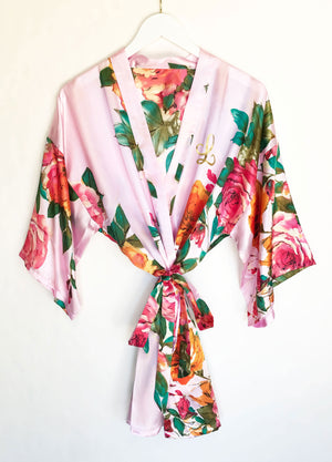 Monogram Watercolor Floral Robe Pink