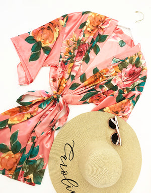 Monogram Watercolor Floral Bridal Party Robes Coral