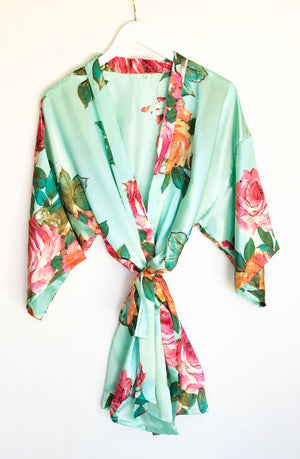 Monogram Watercolor Floral Bridal Party Robes Mint