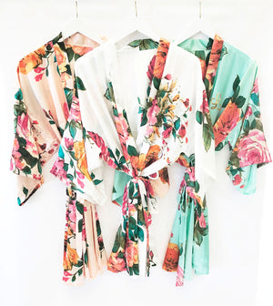 Monogram Watercolor Floral Bridal Party Robes White, Mint, Peach Blush