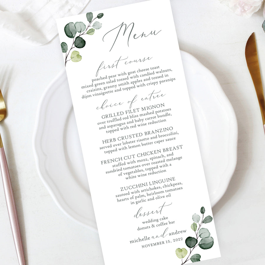 rustic botanical eucalyptus leaves watercolor wedding reception menu
