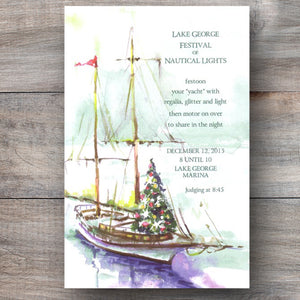 nautical invitations with a sailboat adorned with a Christmas tree