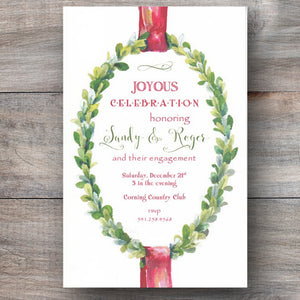 Christmas party invitations with evergreen wreath and red ribbon