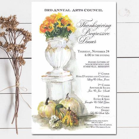 autumn invitations with mums in pedestal urn with mini pumpkins