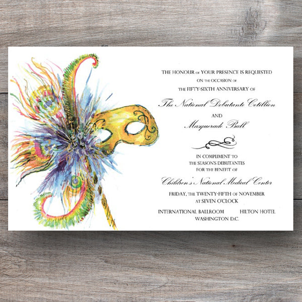 mardi gras party invitations with mask adorned with feathers