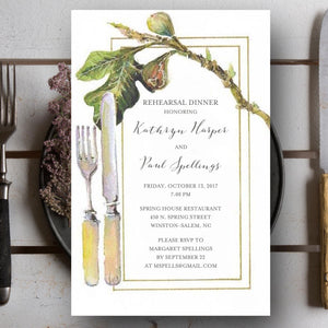 Rehearsal Dinner Invitations with Fig and Fork Farm to Table Theme