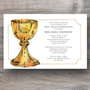 First Holy Communion Invitations with Gold Chalice