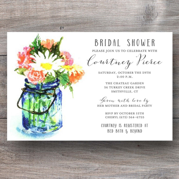 shower invitations with glass mason jar filled with flowers