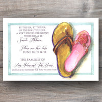 beach wedding invitations with a pair of his and hers flip flops