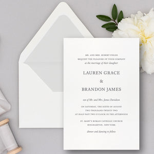 Modern Minimalist Letterpress Wedding Invitations
