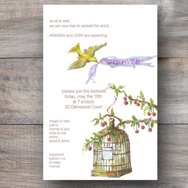 neutral baby shower invitations with bird cage hanging from a tree