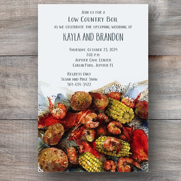 Frogmore Stew Low Country Boil Invitations