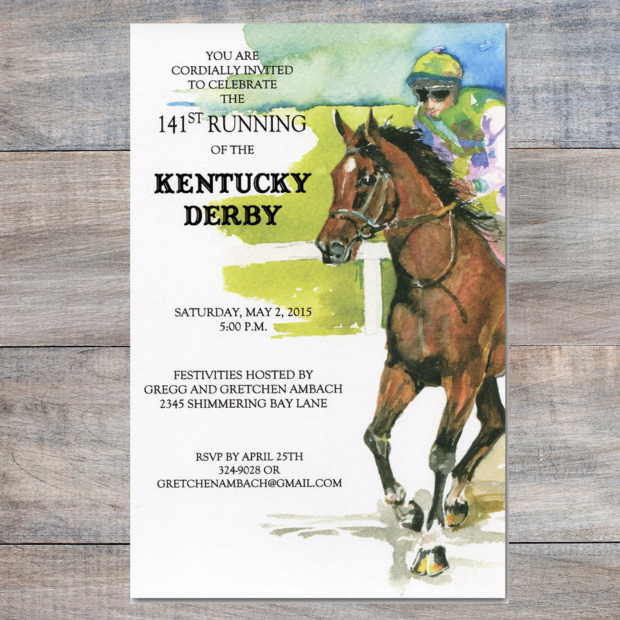 Kentucky Derby Invitations with jockey riding horse at races