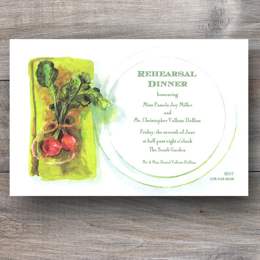 farm to table theme rehearsal dinner invitations with plate setting and radishes