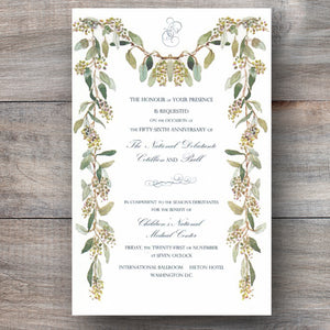 wedding event invitations with green garland