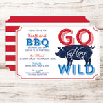 4th of July BBQ Invitations with pig roast design