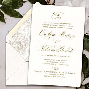 Antique Gold Thermography Wedding Invitation with Liner