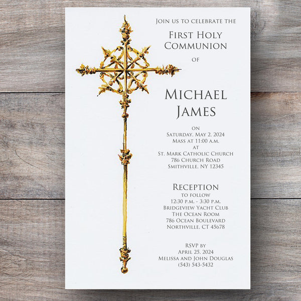 religious invitations with ornate gold cross