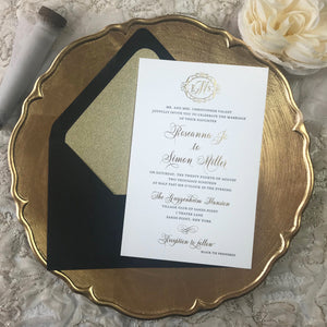 black and gold letterpress wedding invitation suite