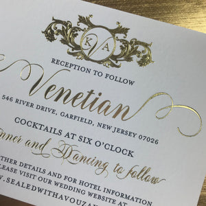close up of reception card gold foil