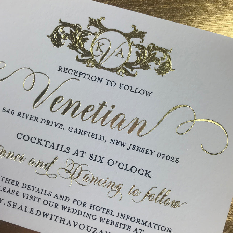 letterpress wedding invitation with gold foil