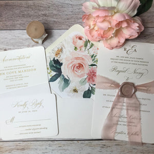 Blush and Gold Thermography Wedding Invitations