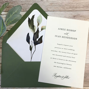 green foliage letterpress wedding invitation