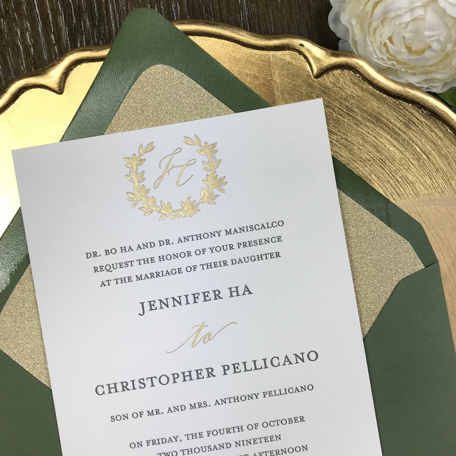 green and gold letterpress wedding invitation