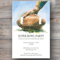 football super bowl invitations with football on field