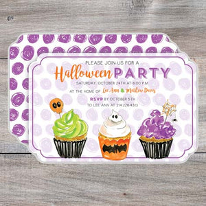 Kids Halloween Party Invitations with decorated cupcakes