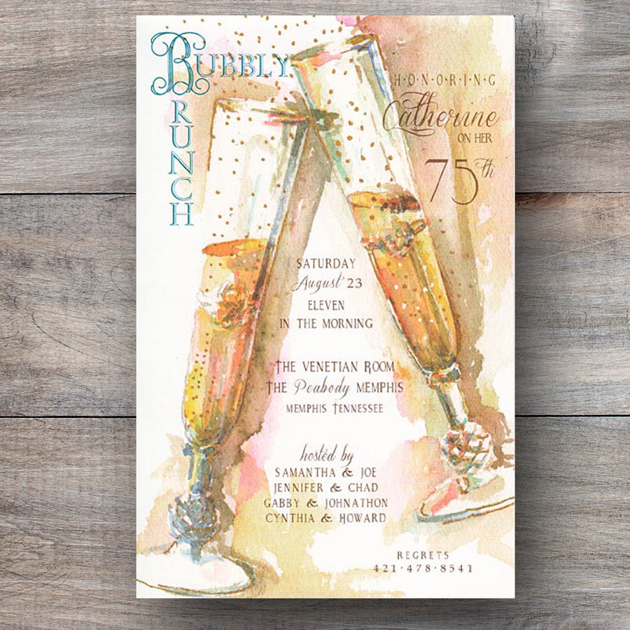 Champagne invitations with two flutes giving a toast of cheer!