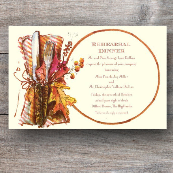 Thanksgiving dinner invitations with place setting adorned with twine and seasonal leaves
