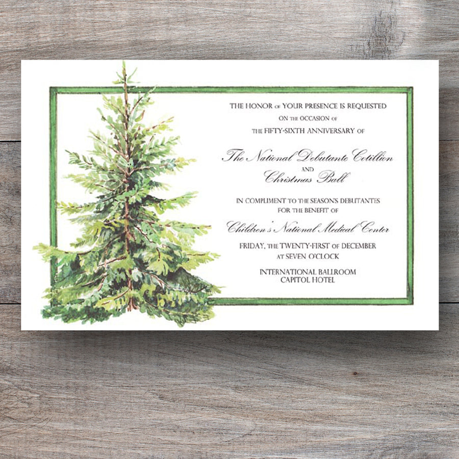 Christmas party invitations with a green Hemlock tree