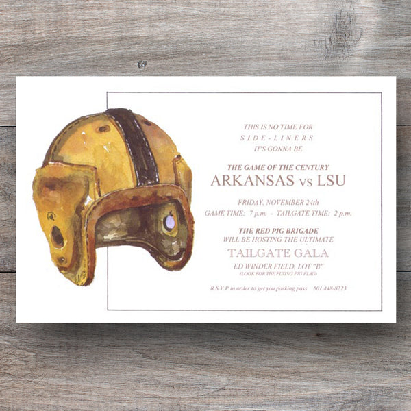 Super Bowl party invitations with a vintage leather football helment