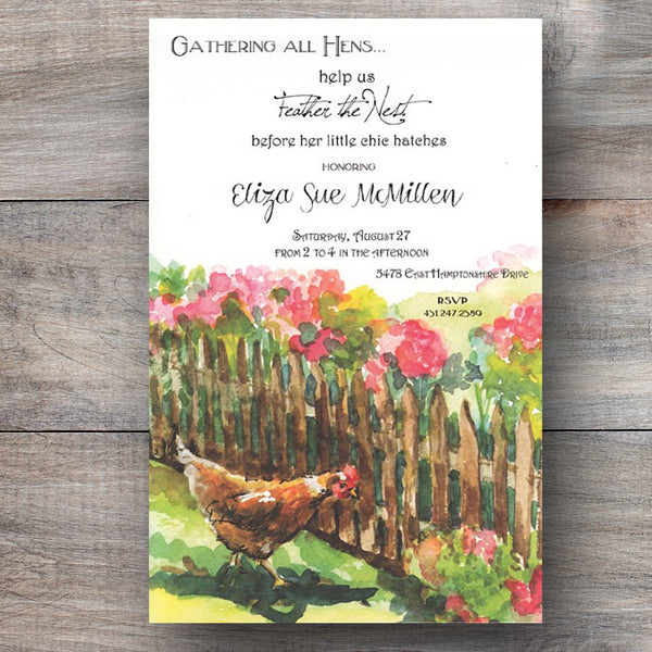 baby shower invitations with mother hen preparing her nest