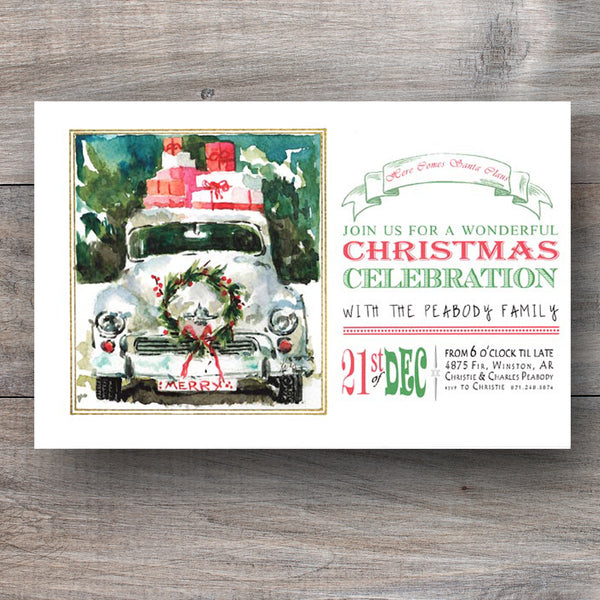 Christmas invitations with decorated car topped with holiday presents!