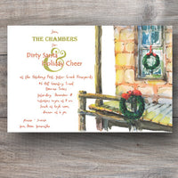 country Christmas party invitations with cabin and holiday wreaths