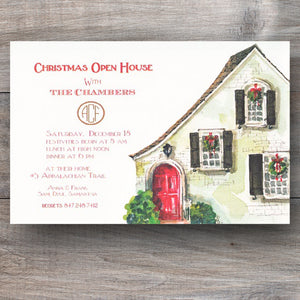 Christmas open house invitations with decorated home