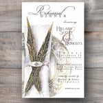 hunt theme rehearsal dinner invitations with plate setting and two feathers