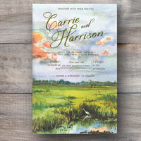 scenic invitations with coastal marsh with incoming tide