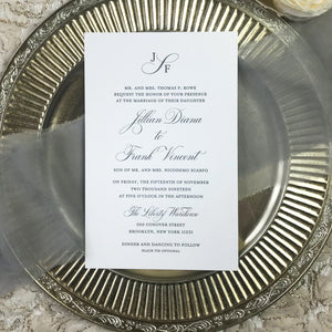 letterpress wedding invitation with charcoal gray ink