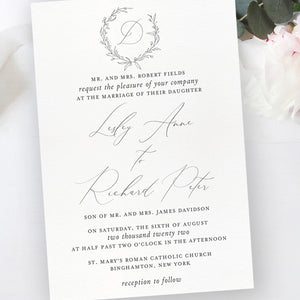 Sketched Wreath Digital Wedding Invitations