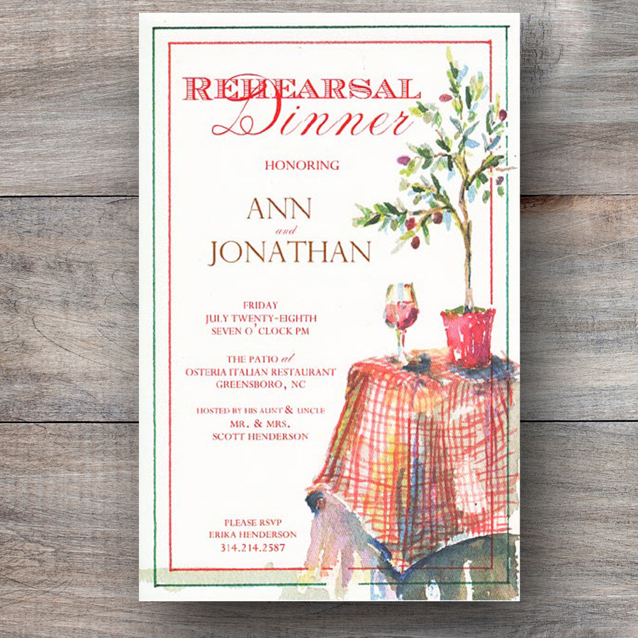 Italian rehearsal dinner invitations with olive tree and red wine